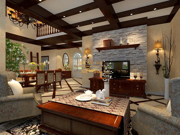 西安城市人家装修公司项目案例提香溪谷别墅美式田园风格