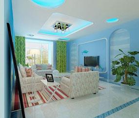 地中海客厅两室背景墙装饰效果图