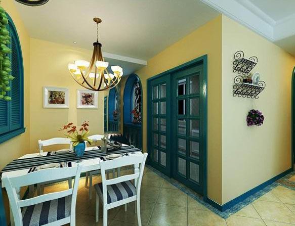地中海餐厅两室背景墙效果图