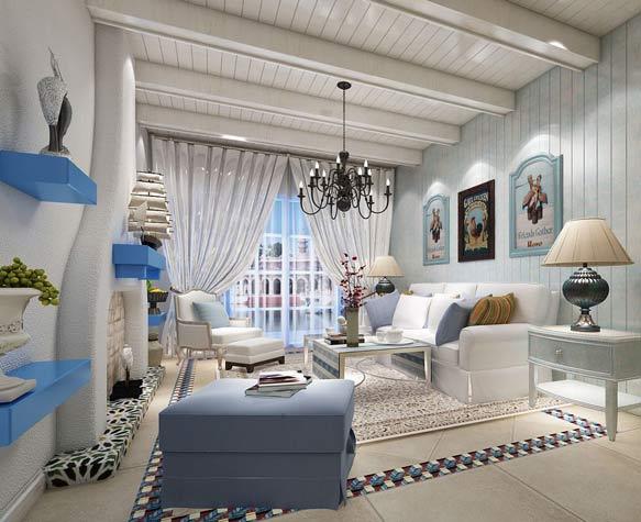 地中海客厅三室飘窗效果图