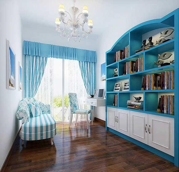 地中海书房三室飘窗效果图