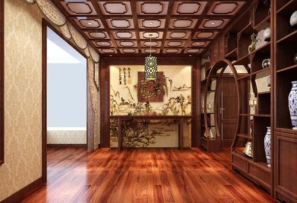 中式背景墙效果图