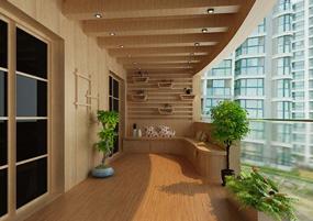 现代阳台三室效果图