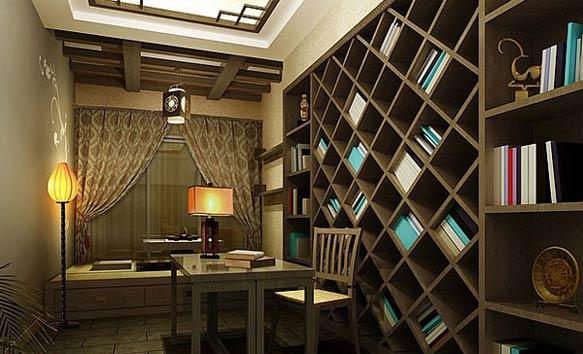 中式三室书房背景墙效果图