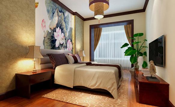 中式三室卧室电视墙效果图