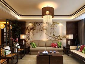 新中式四室客厅吊顶效果图