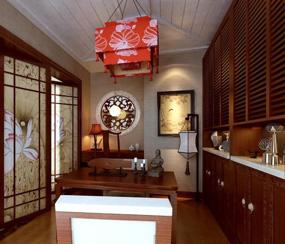 新中式三室书房背景墙效果图