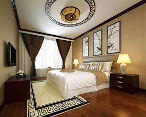 新中式三室卧室背景墙效果图