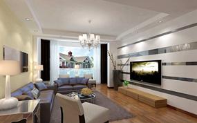 现代简约一室客厅背景墙效果图