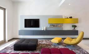 现代简约两室客厅背景墙效果图