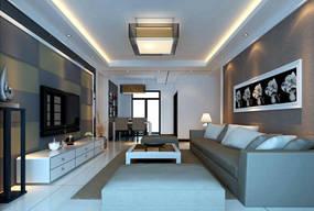 现代简约三室客厅背景墙效果图