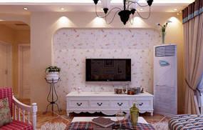 现代简约复式客厅背景墙效果图