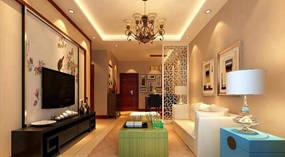欧式风格两室客厅背景墙效果图