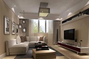 现代简约跃层客厅背景墙效果图