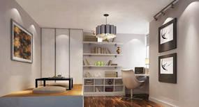 现代简约两室书房背景墙效果图