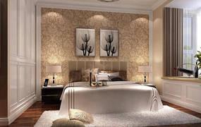 现代简约一室卧室背景墙效果图