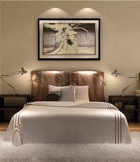 现代简约两室卧室背景墙效果图
