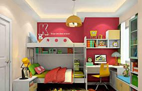混搭一室儿童房背景墙效果图
