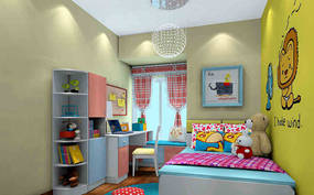 现代简约错层儿童房背景墙效果图