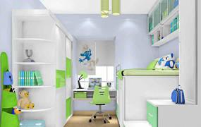 现代简约一室儿童房背景墙效果图