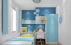现代简约两室儿童房背景墙效果图