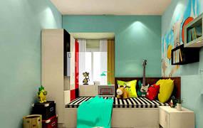 现代简约三室儿童房背景墙效果图
