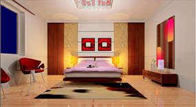 95平米现代简约三室卧室效果图