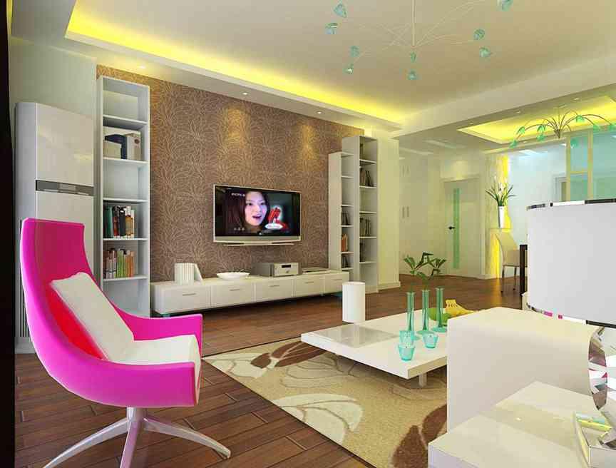 124平米现代简约公寓客厅效果图