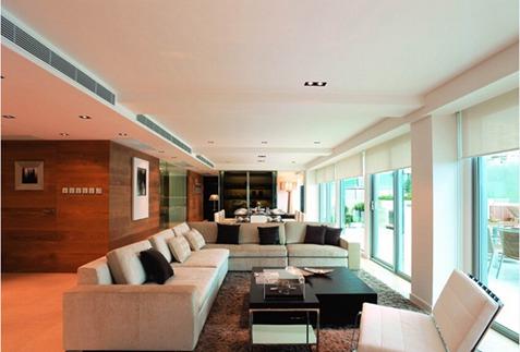 109平米现代简约别墅客厅效果图