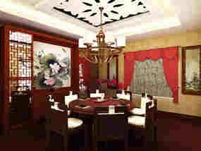 中式复式餐厅吊顶效果图