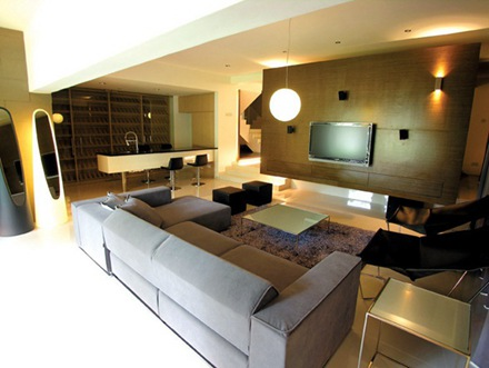 114平米美式别墅客厅效果图