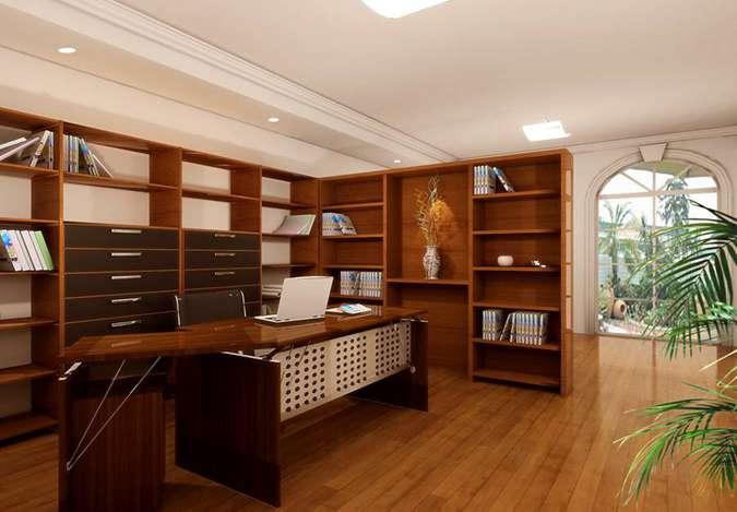 95平米新中式三室书房效果图
