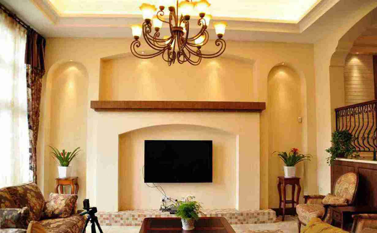 118平米简欧四室客厅电视墙效果图