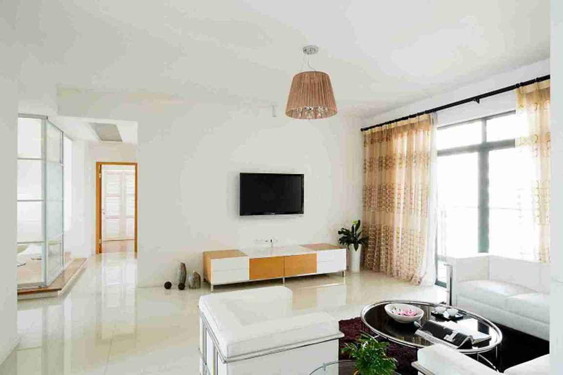 86平米简约四室客厅电视墙效果图