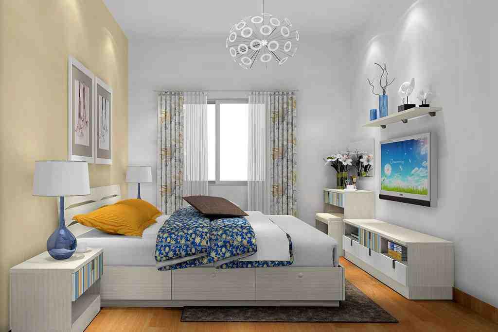 现代小户型卧室背景墙效果图