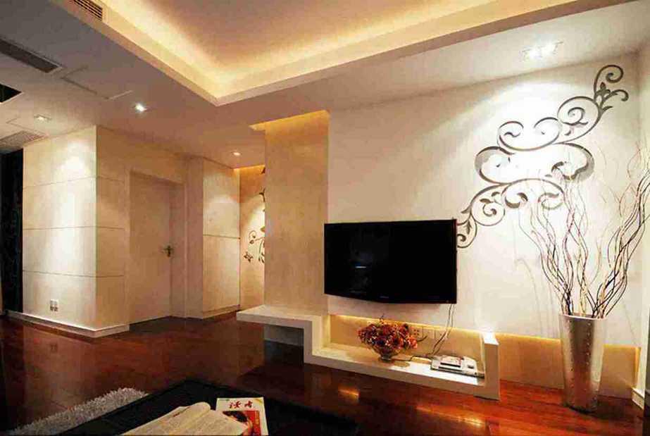 98平米中式三室客厅电视墙效果图