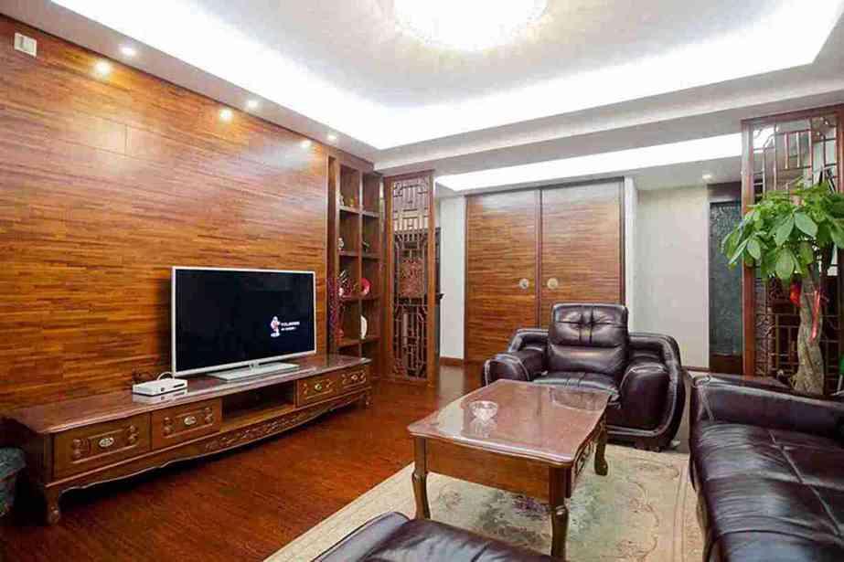 117平米中式四室客厅电视墙效果图