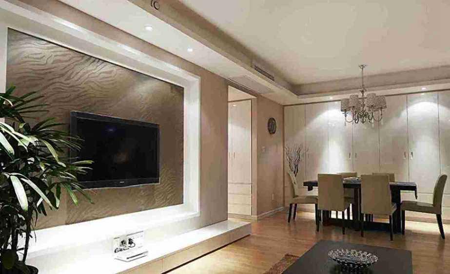 75平米现代小户型客厅电视墙效果图