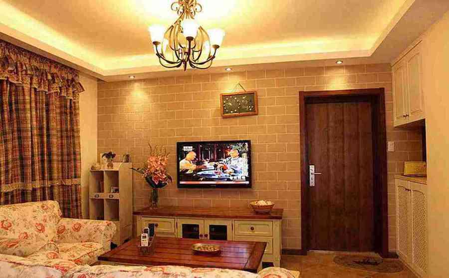 现代小户型客厅电视墙效果图
