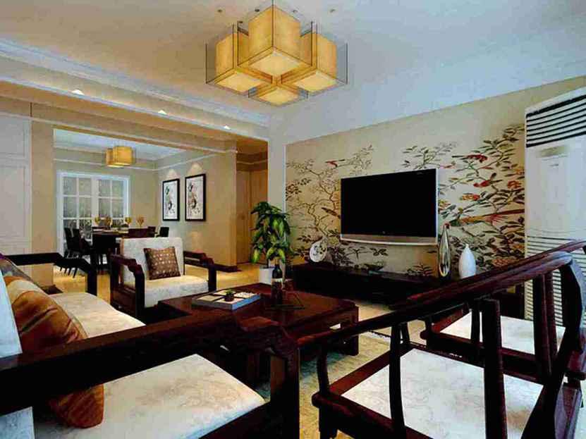 128平米现代大户型客厅电视墙效果墙