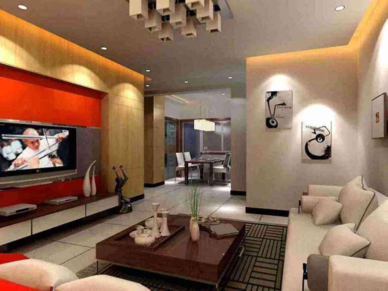 112平米现代四室客厅电视墙效果图