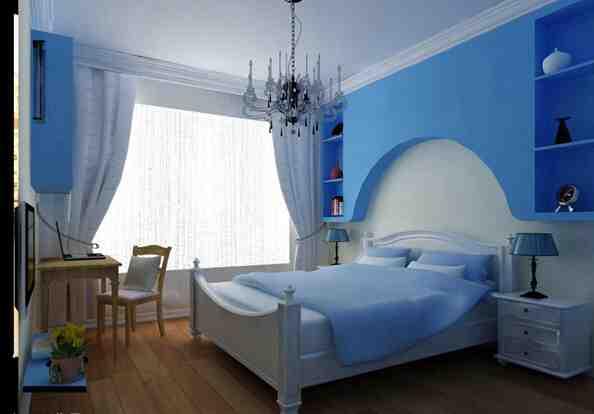 地中海一室卧室背景墙效果图