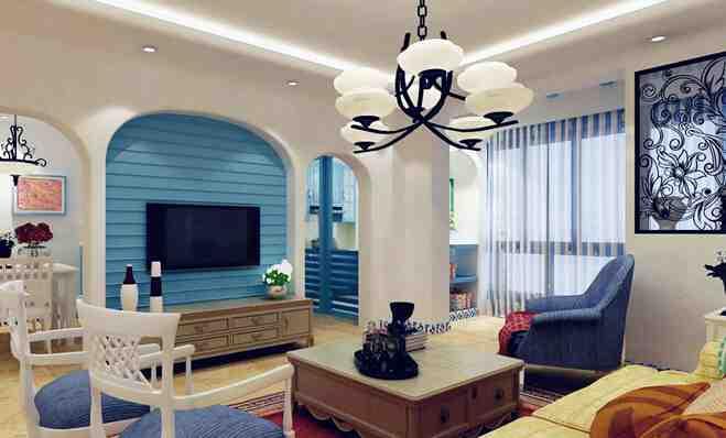地中海两室客厅背景墙效果图