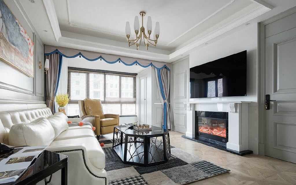 项目案例现代美式风三居室装修设计,精致典雅的灰色