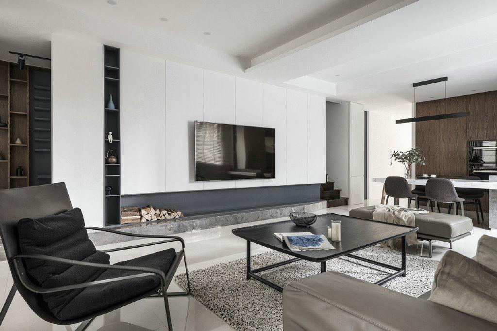 项目案例气质简约现代风格家居,木纹与白色营造了一