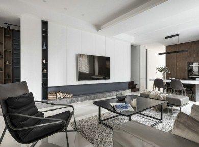 气质简约现代风格家居,木纹与白色营造了一