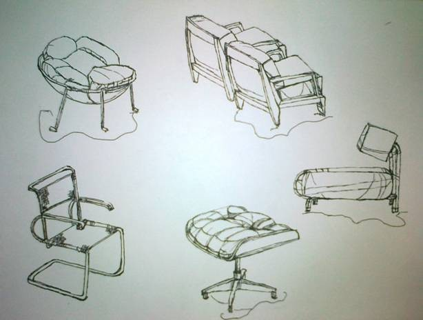 简单家具组合手绘